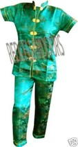 """New Womens 2 PC Set Gorgeous Chinese Pagoda Toile Pajamas SZ 5X SS Top 48"""" Chest image 4"""