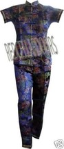 """New Womens 2 PC Set Gorgeous Chinese Pagoda Toile Pajamas SZ 5X SS Top 48"""" Chest image 3"""