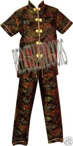 """New Womens 2 PC Set Gorgeous Chinese Pagoda Toile Pajamas SZ 5X SS Top 48"""" Chest image 2"""