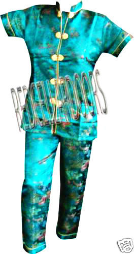 """New Womens 2 PC Set Gorgeous Chinese Pagoda Toile Pajamas SZ 5X SS Top 48"""" Chest image 5"""