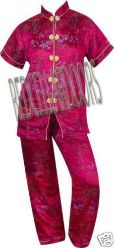 """New Womens 2 PC Set Gorgeous Chinese Pagoda Toile Pajamas SZ 5X SS Top 48"""" Chest image 6"""