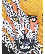 wild leopard beast lady woman animal abstract original art drawing fantasy  - $39.99
