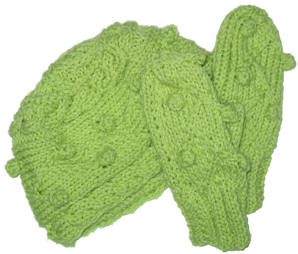 Spring Green Hand Knit Mittens