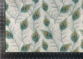 Peacock Feathers Beige Linen Look High Quality Fabric Material 3 Sizes - $7.41+