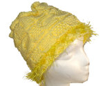 Very Yellow Hand Knit Hat with Eyelash Fringe