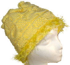 Very Yellow Hand Knit Hat with Eyelash Fringe - $24.00