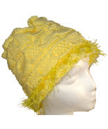 Very Yellow Hand Knit Hat with Eyelash Fringe - $27.50