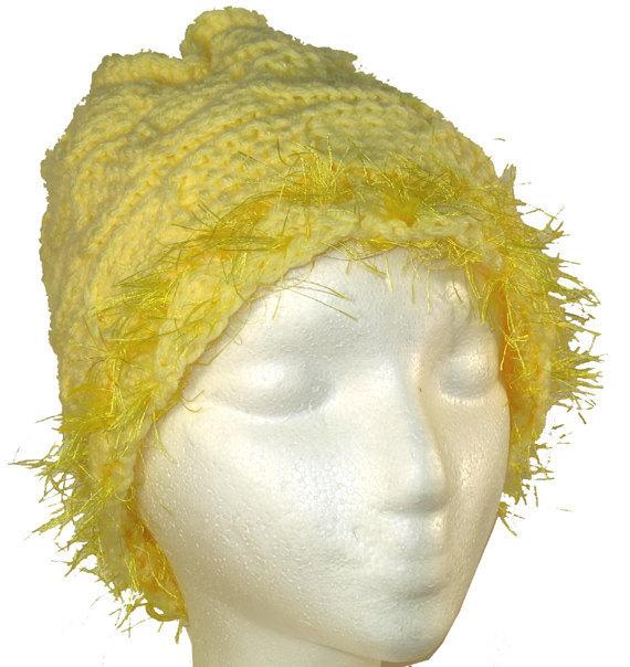 Very Yellow Hand Knit Hat with Eyelash Fringe