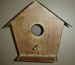 Metal Natural Look Bird House w perch and ledge New