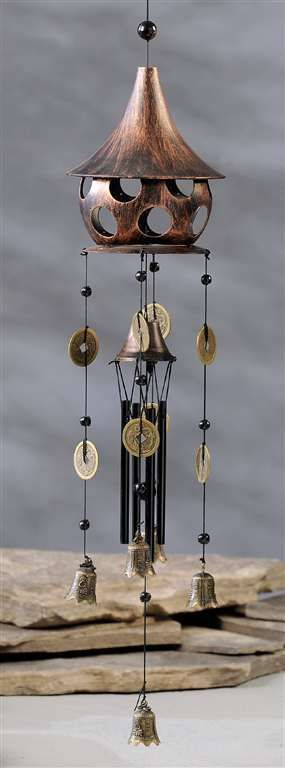 "32"" Zen Asian Style Birdhouse and Bell Windchime Metal"