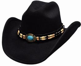 Bullhide Fortune Soft Wool Cowgirl Hat Barrel Beads Turquoise Concho Black - $71.00