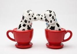 Kissing Dalmatian Dogs in Tea Cup Ceramic Magnetic Salt and Pepper Shakers - $11.76