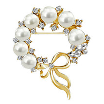 P ugster Gold Tone Bowknot Clear White Crystal Rhinestone Pearl Wreath P... - $31.49