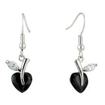 Pugster Black White Clear Heart-shaped Leaf Dangle Swarovski Crystal Ear... - $13.99