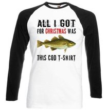 Christmas Funny Gift Cod Fish - Black Sleeved Baseball T-Shirt XL [Apparel] - $23.99
