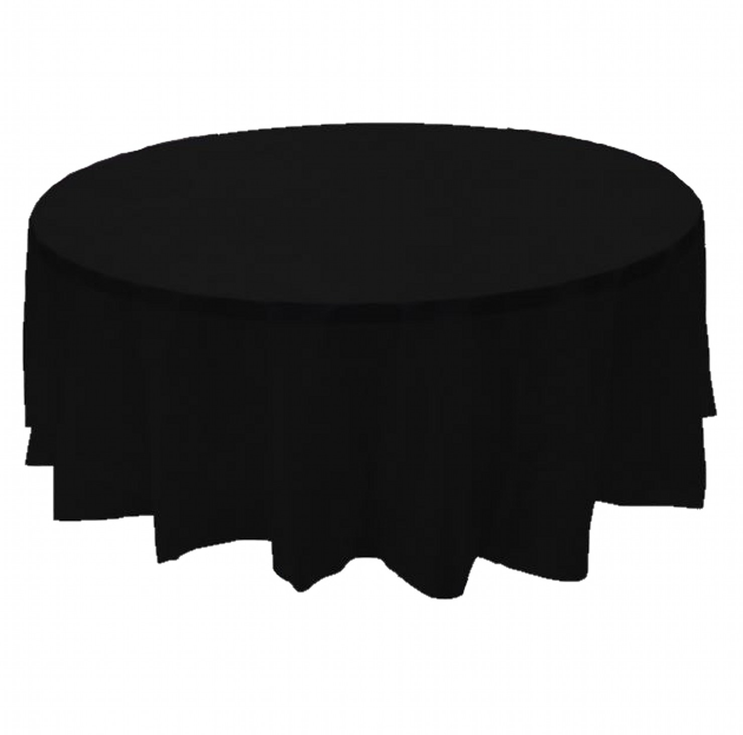 "2 BLACK Plastic round tablecloths 84"" diameter table cover"