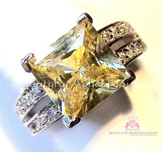 Womens 925 Sterling Silver Classic Canary Cubic Zirconia Clear Accents C... - $87.99