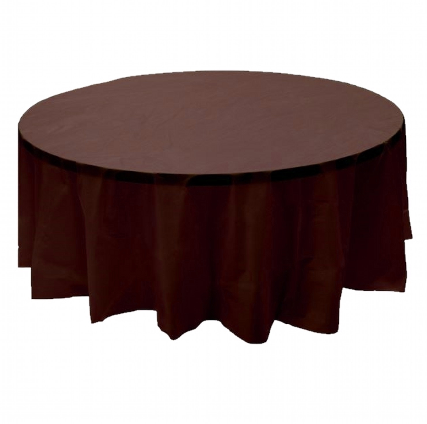 "2 BROWN Plastic round tablecloths 84"" diameter table cover"