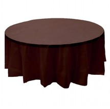 "2 BROWN Plastic round tablecloths 84"" diameter table cover - £5.32 GBP"