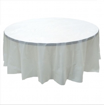 "2 CLEAR Plastic round tablecloths 84"" diameter table cover - £5.40 GBP"