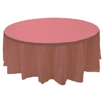 "2 DUSTY ROSE Plastic round tablecloths 84"" diameter table cover - £5.40 GBP"