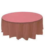 """2 DUSTY ROSE Plastic round tablecloths 84"""" diameter table cover - $6.99"""