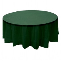 """2 HUNTER GREEN Plastic round tablecloths 84"""" diameter table cover - $6.99"""