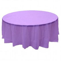 """2 LAVENDER Plastic round tablecloths 84"""" diameter table cover - $6.99"""