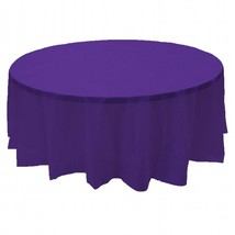 "2 PURPLE Plastic round tablecloths 84"" diameter table cover - £5.40 GBP"