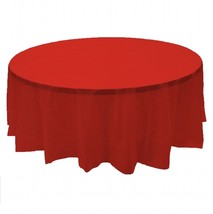 "2 RED Plastic round tablecloths 84"" diameter table cover - £5.32 GBP"