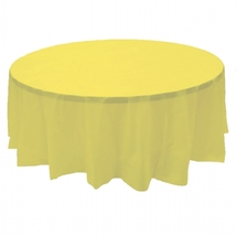 """2 YELLOW Plastic round tablecloths 84"""" diameter table cover - $6.99"""