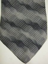 VINTAGE Jhane Barnes Gray and Silver Wavy Lines Silk Tie - $29.99