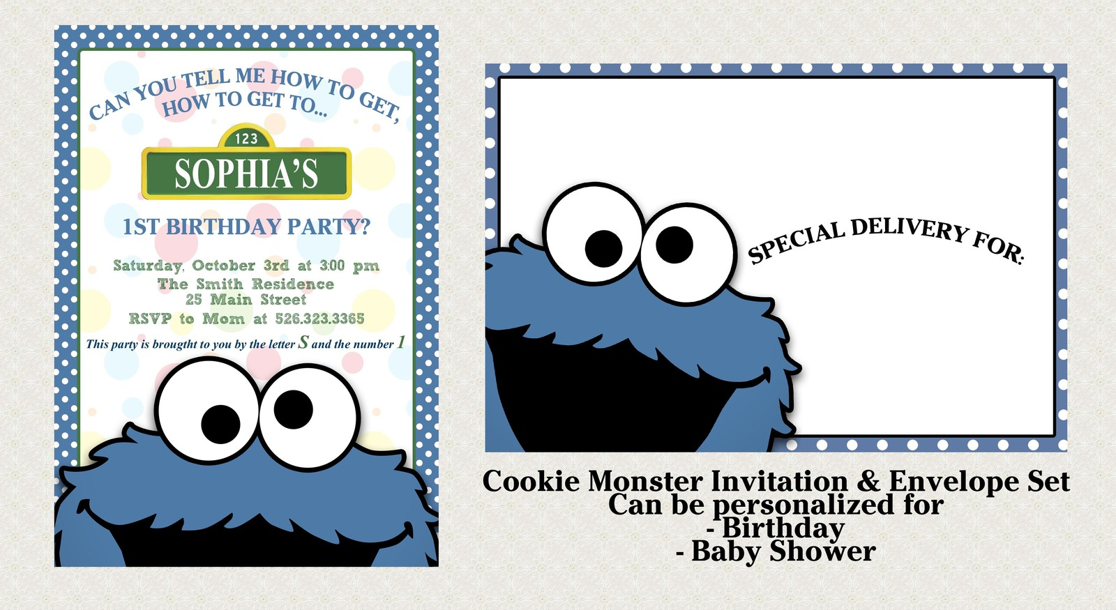 Cookie Monster Invitation Set matching and similar items