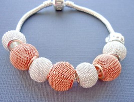 European charm bracelet Rose gold and Silver plated mesh beads Two tone ... - £9.74 GBP