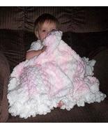Pink & White Hand Crocheted Baby Blanket - $50.00