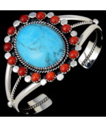 Glowing Turquoise Navajo Sterling Silver Cuff Bracelet With Coral Cluster - $277.07