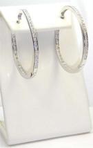 14 K Wgp Pave Insideoutside Clear Cubic Zirconia Hoop Earring  40 Mm - $34.64