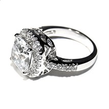 New Pave & 6CTW Cushion Cut Basket Halo Cubic Zirconia Ring High Quality Bridal - $24.99