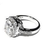 NEW PAVE & 6CTW CUSHION CUT BASKET HALO CUBIC ZIRCONIA  RING HIGH QUALIT... - $24.99