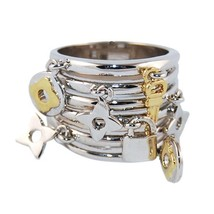 TWO TONE STACKED RHODIUM & 14K GOLD PLATED CHARM DANGLE BAND RING - $23.99