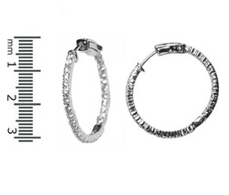 GLITZY INSIDEOUT PAVE CLEAR AAA CUBIC ZIRCONIA HOOP EARRINGS 30MM-WELL MADE - $29.69