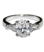HOT NEW CLEAR OVAL 3CT SOLITAIRE WITH BAGUETTE CUBIC ZIRCONIA ENGAGEMENT... - $24.99