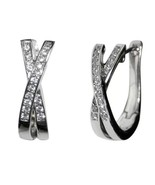 PAVE X CZ CLEAR CUBIC ZIRCONIA HOOP  EARRING 21MM - $24.74