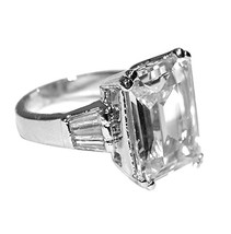 9CTW RADIANT EMERALD CENTER-SIDE BAGUETTE CUBIC ZIRCONIA WEDDING RING-BR... - $24.99