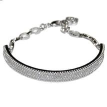 Micro Pave Cubic Zirconia Tennis Link Bracelet Adjustable - $39.59
