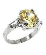 3CTW YELLOW CANARY OVAL+ CLEAR BAGUETTE SIDE CUBIC ZIRCONIA RING BRIDAL - $24.99