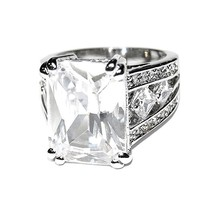 NEW PAVE & EMERALD CUT CUBIC ZIRCONIA BAND RING HIGH QUALITY BRIDAL - $29.99