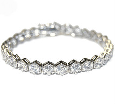 7 Ctw Hexagon Shape Cubic Zirconia Rhodium Tennis Bracelet Box Lock  Bridal - $39.59