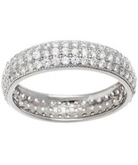 NEW 14K WHITE GOLD VERMEIL Pave 3 Row Dome Shape Eternity Ring-Bridal-Ba... - $35.00