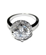 NEW 3CTW PAVE & ROUND HALO CUBIC ZIRCONIA BAND RING HIGH QUALITY BRIDAL - $24.99